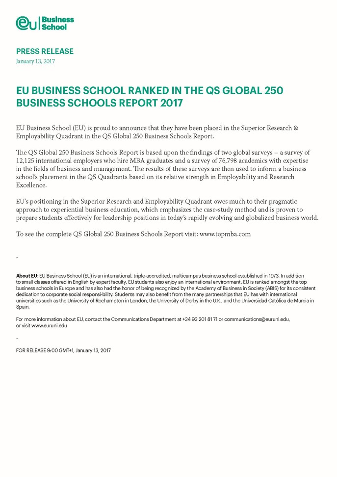 EU BUSINESS SCHOOL RANKED IN THE QS GLOBAL 250 BUSINESS SCHOOLS REPORT 2017